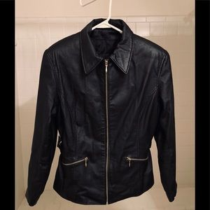 Women's L Black Leather Zip Cafe Racer Moto Jacket